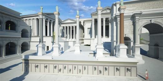 Escalinatas de los Rostra, desde donde los lideres romanos ofrecian sus discursos, con las columnas sobre las que descansan las estatuas de los lideres de Roma.